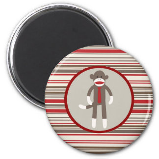 Like a Boss Sock Monkey with Tie on Red Stripes 2 Inch Round Magnet