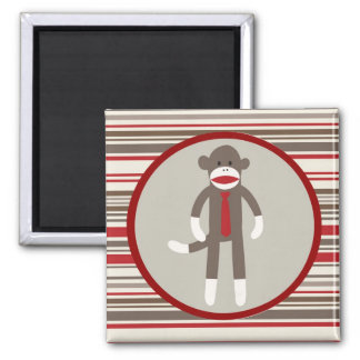 Like a Boss Sock Monkey with Tie on Red Stripes 2 Inch Square Magnet