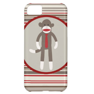 Like a Boss Sock Monkey with Tie on Red Stripes Case For iPhone 5C