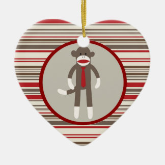 Like a Boss Sock Monkey with Tie on Red Stripes Ceramic Ornament