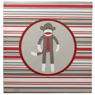 Like a Boss Sock Monkey with Tie on Red Stripes Cloth Napkin