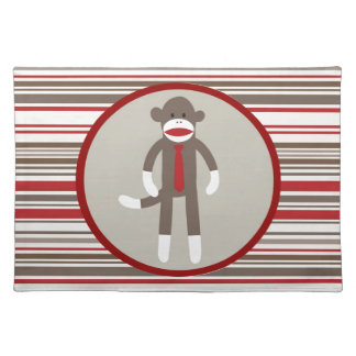 Like a Boss Sock Monkey with Tie on Red Stripes Cloth Placemat