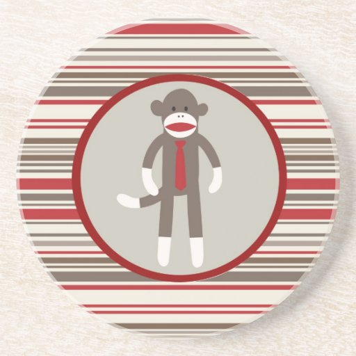 Like a Boss Sock Monkey with Tie on Red Stripes Drink Coaster