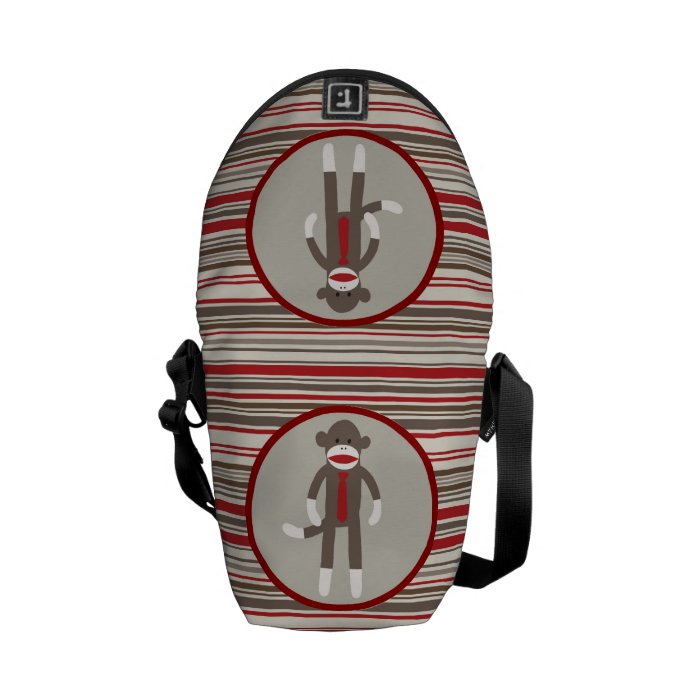 Like a Boss Sock Monkey with Tie on Red Stripes Courier Bag