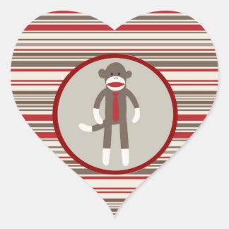 Like a Boss Sock Monkey with Tie on Red Stripes Heart Sticker