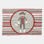 Like a Boss Sock Monkey with Tie on Red Stripes Kitchen Towel