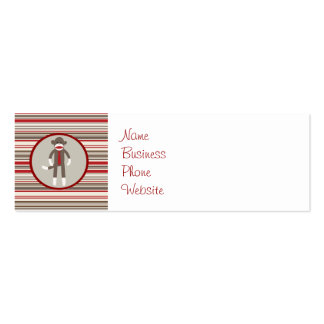 Like a Boss Sock Monkey with Tie on Red Stripes Mini Business Card