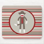 Like a Boss Sock Monkey with Tie on Red Stripes Mouse Pad