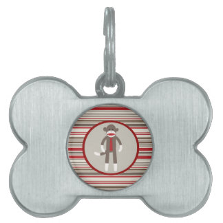 Like a Boss Sock Monkey with Tie on Red Stripes Pet Tag