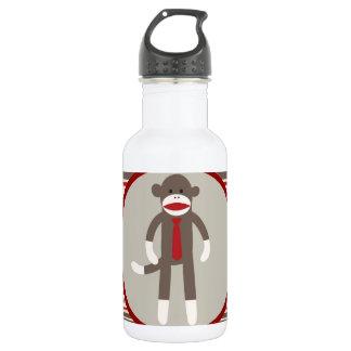 Like a Boss Sock Monkey with Tie on Red Stripes Water Bottle