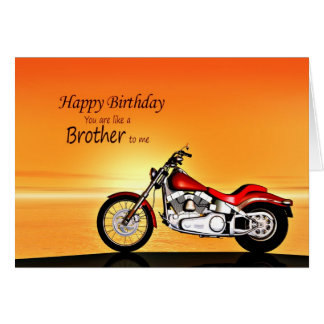 Like a brother, Motorcycle in the sunset birthday Card