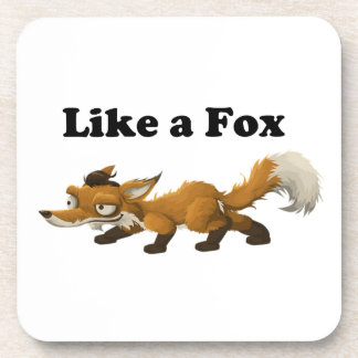 Like a Fox Funny Cartoon Joke Pun Beverage Coaster