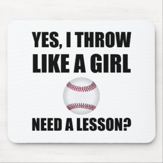 Like A Girl Baseball Mouse Pad