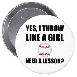 Like A Girl Baseball Pinback Button