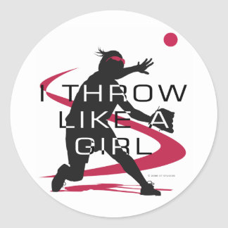 Like a girl D Classic Round Sticker