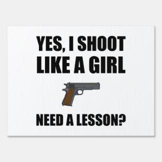 Like A Girl Gun Shoot Yard Sign