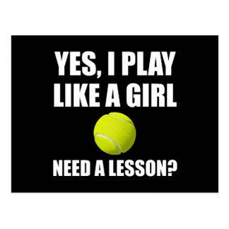 Like A Girl Tennis Postcard