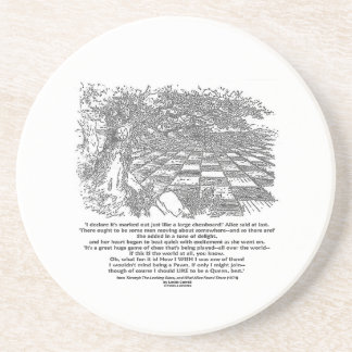 Like A Large Chessboard Game Of Chess Wonderland Beverage Coasters