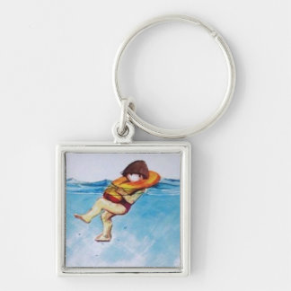 Like a Life Jacket Silver-Colored Square Keychain