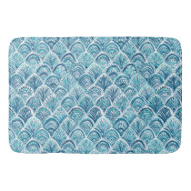 LIKE A MERMAID Nautical Fish Scales Pattern Bathroom Mat