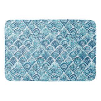 LIKE A MERMAID Nautical Fish Scales Pattern Bathroom Mat