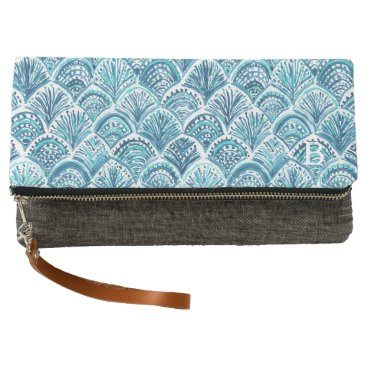 Beach Themed LIKE A MERMAID Nautical Fish Scales Pattern Clutch
