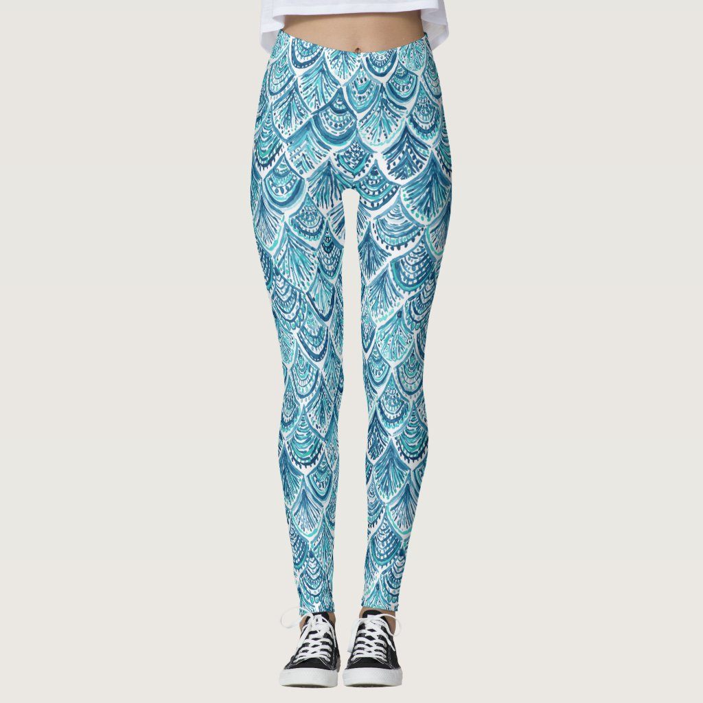 LIKE A MERMAID Nautical Fish Scales Pattern Leggings
