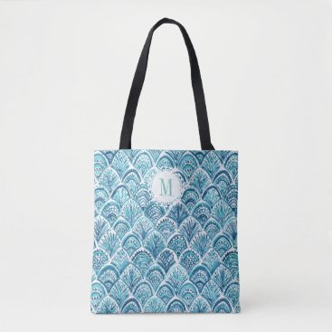 Beach Themed LIKE A MERMAID Watercolor Fish Scales | Custom Tote Bag