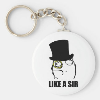 Like a Sir Monocle Rage Face Meme Basic Round Button Keychain
