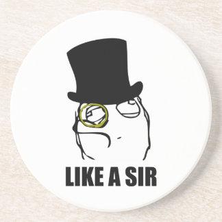 Like a Sir Monocle Rage Face Meme Beverage Coaster
