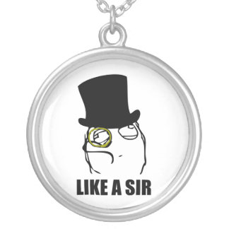 Like a Sir Monocle Rage Face Meme Round Pendant Necklace