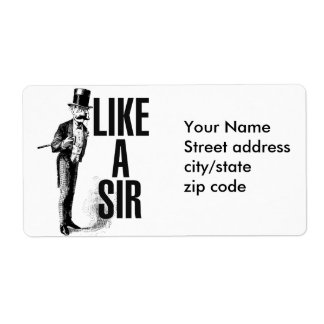 Like a SIR Stache Shipping Label