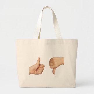 Like and dislike large tote bag