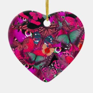 Like Butter, Shocking Pink Butterfly Pattern. PJ Ceramic Ornament