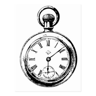Like Clockwork Pocket Watch Illustration Postcard