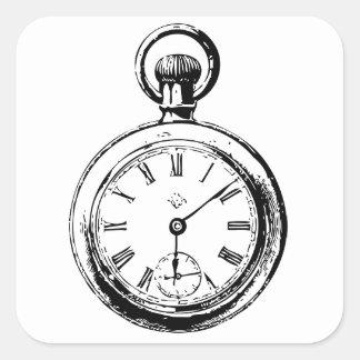 Like Clockwork Pocket Watch Illustration Square Stickers