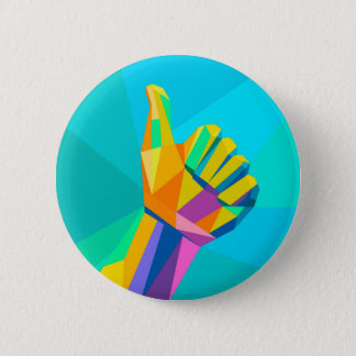 Like hand sign geometrical style pinback button