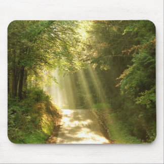 Like in heaven, forest with beams of sun mouse pad