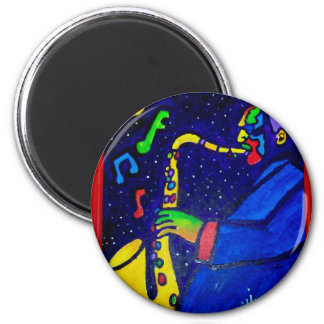 Like Jazz Man by Piliero 2 Inch Round Magnet