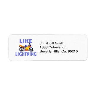 Like Lightining Street Bike Label