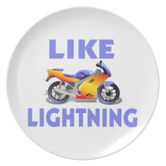 Like Lightining Street Bike Dinner Plates