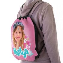 Like Nastya Pink Floral Graphic Drawstring Bag