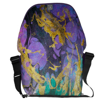 Like Oil and Water (Plum, Green+Gold) Personalized Messenger Bag