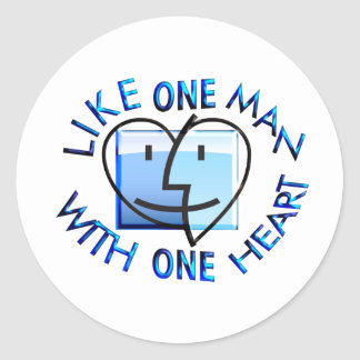 Like one Man With one Heart.png Classic Round Sticker