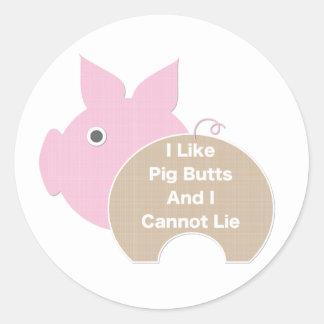 Like Pig Butt Classic Round Sticker