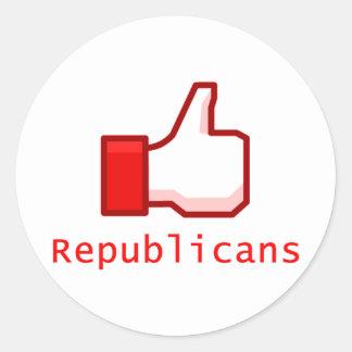 Like Republicans Classic Round Sticker