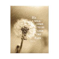 Like the Rain Bible Verse Canvas Print