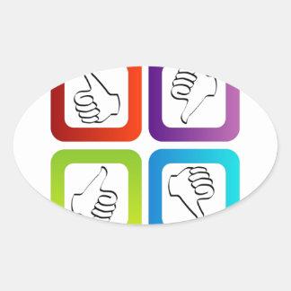 Like unlike symbols oval sticker