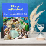 "Like Us on Facebook Counter Sign Plaque custom<br><div class=""desc"">Like Us on Facebook Counter Sign Plaque custom Retail Service Guest promotional counter plaques Personalize Custom AWARD PLAQUES Beach Coastal unique counter signs Seaglass Agates Rocks Shells. Create your own Plaques. Ocean Coastal Beach Blue Sea Glass sign plaques. Thanks to all of You for Liking and Sharing this Art Gift...</div>"