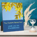 """Like Us on Facebook plaque counter sign Autumn<br><div class=""""desc"""">Like Us on Facebook plaque counter sign Autumn Find Us on Facebook Join Us. Custom Counter PLAQUES Autumn Leaves Fall Harvest Seasonal unique counter signs, Fall Trees Retail Signs, Sales Counter Plaques, Specials Announcement signs. Add your custom text to plaque signs. Thank you for Liking and Sharing our Photography art...</div>"""
